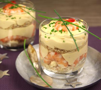 Tiramisu aux crevettes roses envie de bien manger - Comment presenter des crevettes en entree ...