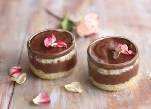 Verrine tapioca, rose et chocolat