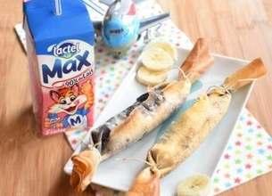 Bonbons croustillants banane-chocolat, Lactel Max à la fraise