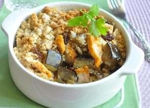 Crumble d'aubergines et poulet au curry