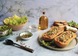 Courge butternut farcie au riz sauvage petits pois et Roquefort