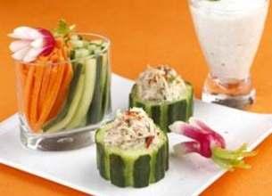 Bouchées de légumes croquants et faisselle au Roquefort