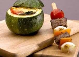Brochettes de bœuf et tian en courgettes
