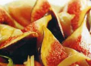 Figues rôties au comté sur chiffonade de jambon