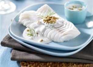 Filet de cabillaud, crème mousseuse Rondelé aux noix