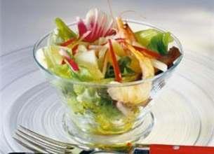 Salade de crevettes à l'Abondance aux deux radis