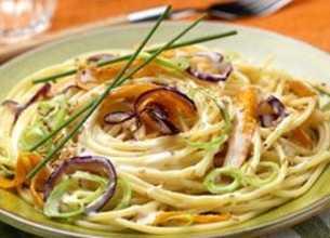 Spaghettis aux petits légumes et au Fondant à l'Emmental