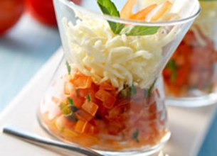 Tartare de Tomates aux Echalotes, Spaghetti de Mozzarella