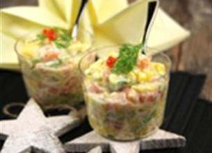 Verrine mangue avocat et saumon