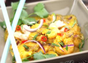 Wok de crevettes à la thaï