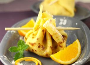 Aumônières de crêpes aux oranges