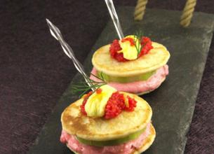 Blinis façon burger au tarama