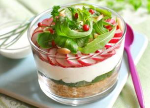 Cheese-cake revisité au chèvre frais et légumes croquants