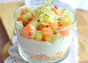Cheese-cake de concombre et saumon frais