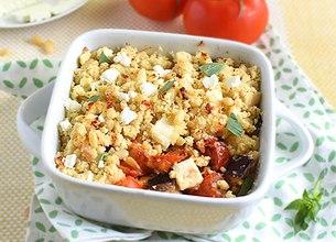 Crumble tomates aubergine et Salakis