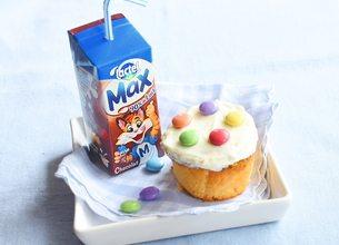 Cupcake Smarties et Lactel Max chocolat