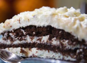 Gâteau au chocolat, caramel et mascarpone