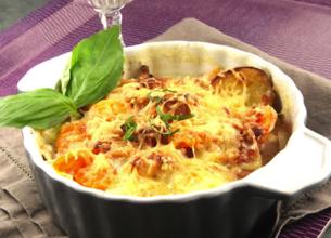 Gratin aux carottes, pommes de terre et lardons