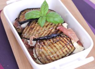 Gratin d'aubergines au jambon de Parme et fromage frais