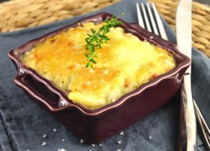 Gratin de macaronis au jambon et aux 3 fromages