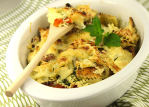 Gratin de raviolis aux fèves et fromage de brebis Lou Pérac