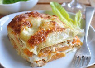 Lasagnes au potiron et poulet grillé