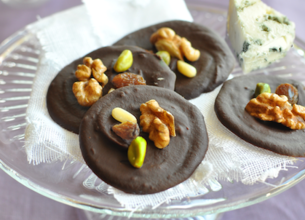 Mendiants chocolat et roquefort