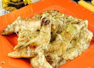 Aiguillettes de poulet à la crème de poireaux