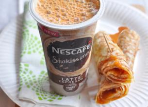 Nescafé Shakissimo Espresso et wrap au caramel au beurre salé