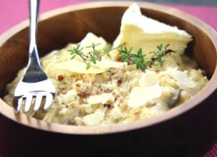 Risotto au camembert et jus de cidre