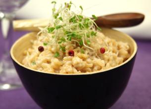 Risotto au parmesan et graines germées