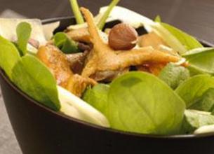 Salade en chaud/froid de champignons aux échalotes