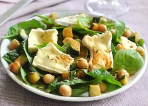 Salade d'épinard et camembert aux épices douces
