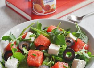 Menu : salade pastèque/Salakis + Sveltesse Saveur praliné façon Rocher
