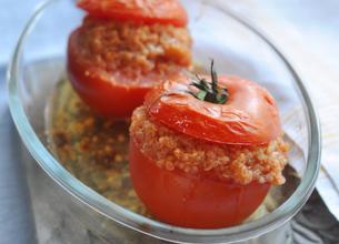 Tomates Farcies au Blé Gratiné au Parmesan et au Basilic